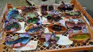 Some of our first grade clay projects, creepy fun! The art students loved this project!