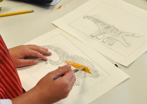 Step 1: Careful observation, drawing with pencil and adding color.