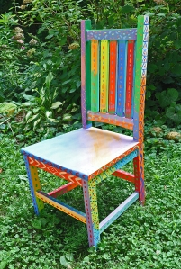 I find old chairs at flea markets and thrift stores. I paint them up and add all kinds of things. I am sure I have done 60 by now. This are given out as reading and art awards. They are a great incentive and them kids love them.
