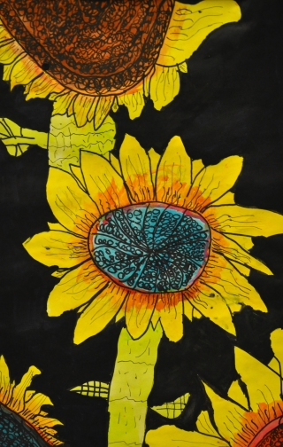 Completed grade 5 Sunflower painting. A process of observation, recording and care.