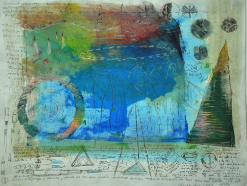 "18"" 24 on paper. Mixed media with photo-screened elements by Bill Whorrall"